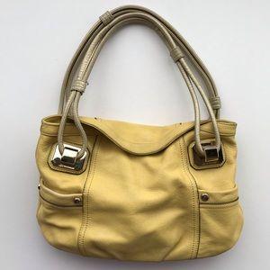 B. Makowsky Yellow Magnetic Close Shoulder Bag